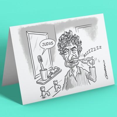 """Bob Dylan """"Judas"""" Toothbrush Greetings Card"""