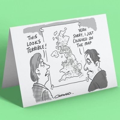 Coughed On The Map Greetings Card