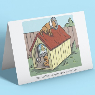 Dog Satellite Dish Greetings Card