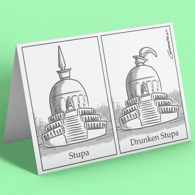 Drunken Stupa Greetings Card