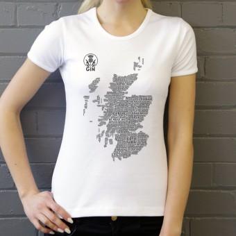 Scottish Gin Typography Map T-Shirt