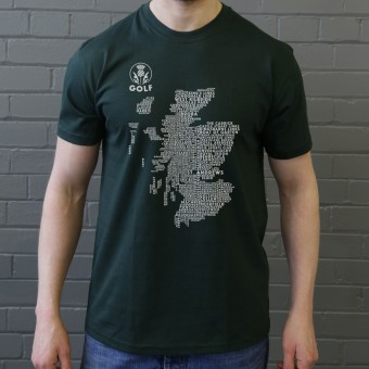 Scottish Golf Typography Map T-Shirt