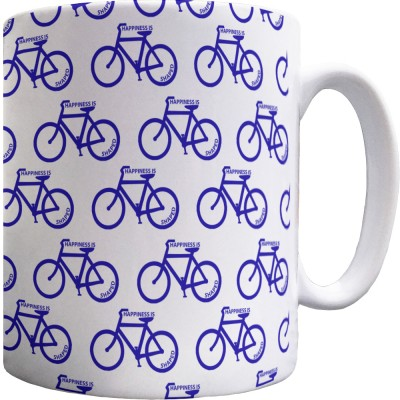 Happiness is Bicycle Shaped Pattern Mug