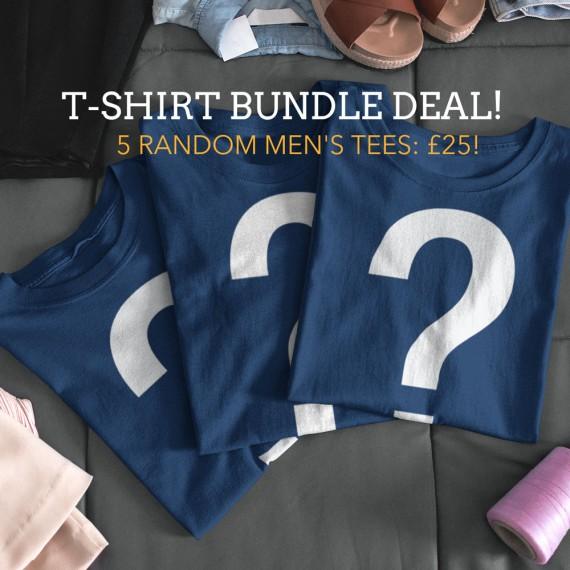 "Men's ""5 For £25"" Random T-Shirt Bundle Offer"
