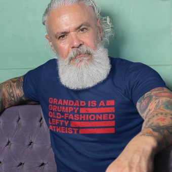 Personalised Grumpy Old-Fashioned Lefty Atheist T-Shirt