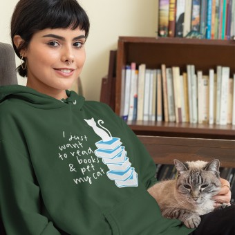 I Just Want to Read Books and Pet My Cat T-Shirt
