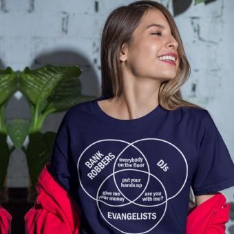 Bank Robbers, DJs, Evangelists Venn Diagram T-Shirt