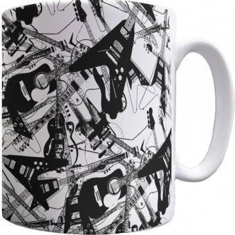 Scattered Guitars Pattern Mug