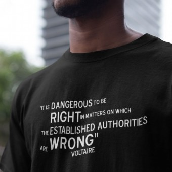 "Voltaire ""Right and Wrong"" Quote T-Shirt"