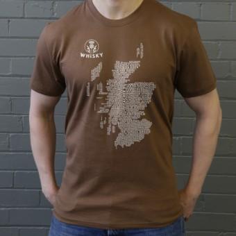 Scottish Whisky Typography Map T-Shirt