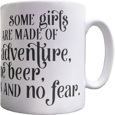 Adventure, Fine Beer, Brains and No Fear Ceramic Mug