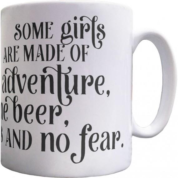 Adventure, Fine Beer, Brains and No Fear Ceramic Mug