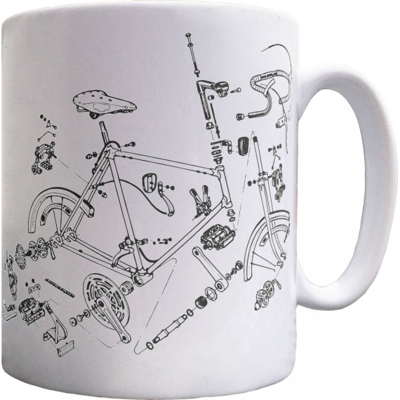 Bicycle Exploded Diagram Ceramic Mug