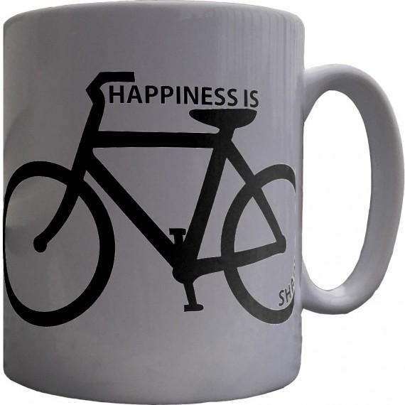 Happiness is Bicycle Shaped Ceramic Mug