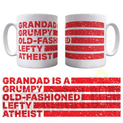 Personalised Grumpy Old-Fashioned Lefty Atheist Ceramic Mug