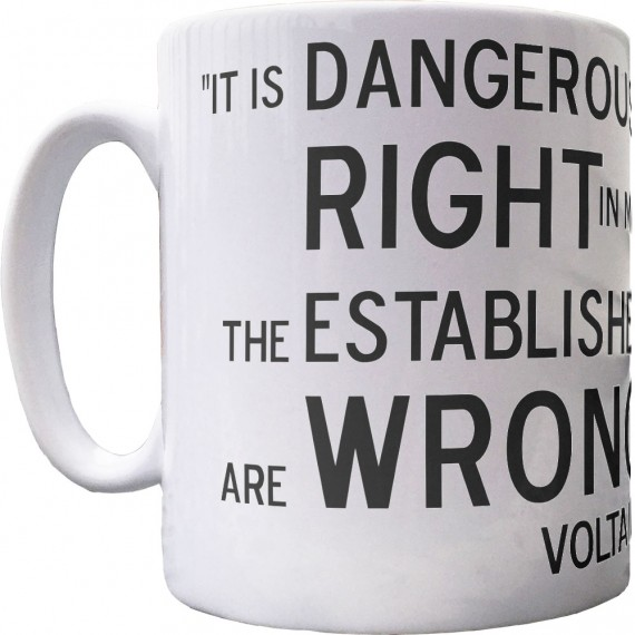 "Voltaire ""Right and Wrong"" Quote Ceramic Mug"