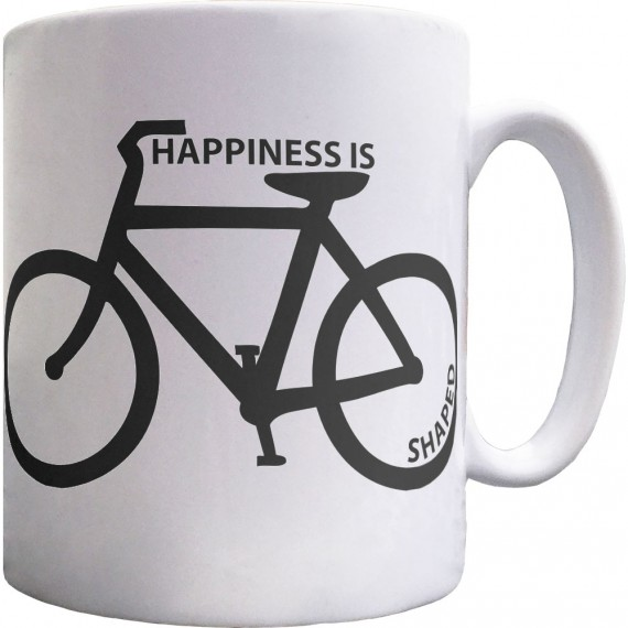 Happiness is Bicycle Shaped Ceramic Mug