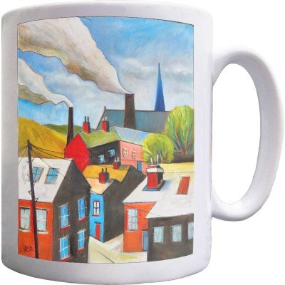 The Red Door In A Northern Scene by Hadrian Richards Ceramic Mug