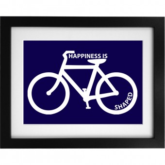 Happiness is Bicycle Shaped Art Print