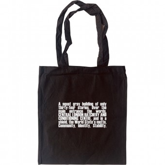 Brave New World Opening Lines Tote Bag