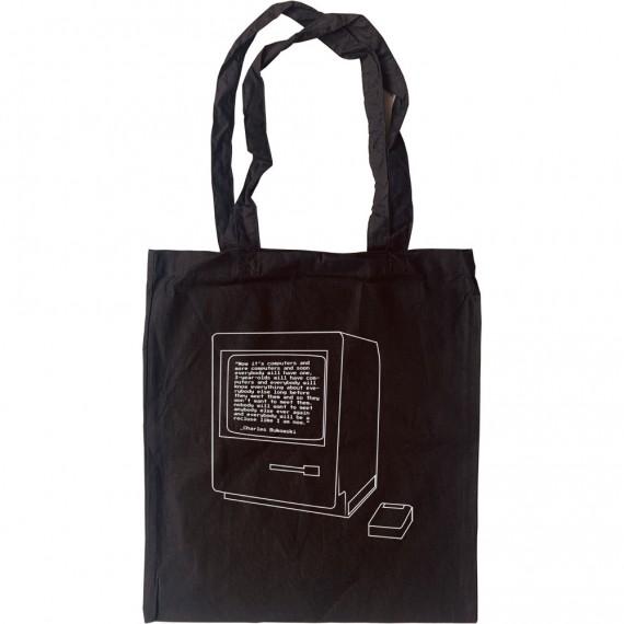 """Charles Bukowski """"Computers"""" Quote Tote Bag"""
