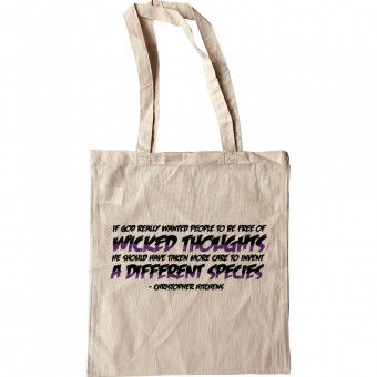 """Christopher Hitchens """"Wicked Thoughts"""" Quote Tote Bag"""