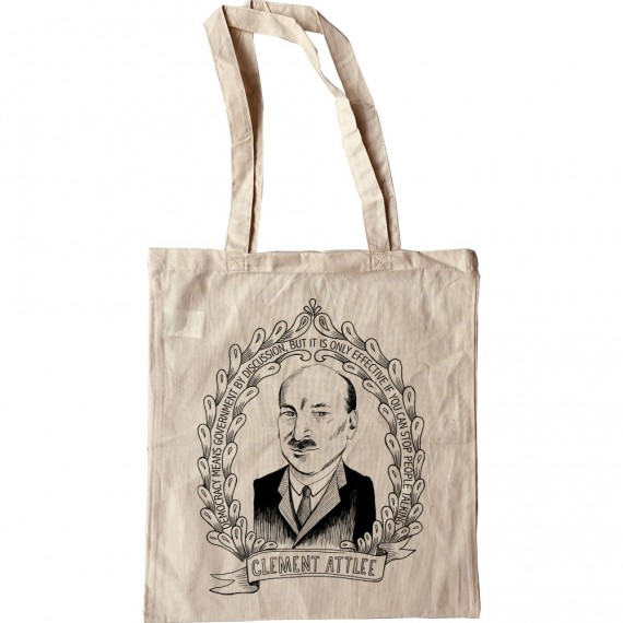 """Clement Attlee """"Democracy"""" Quote Tote Bag"""