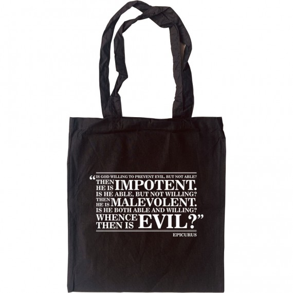 """Epicurus """"Whence Is Evil"""" Quote Tote Bag"""