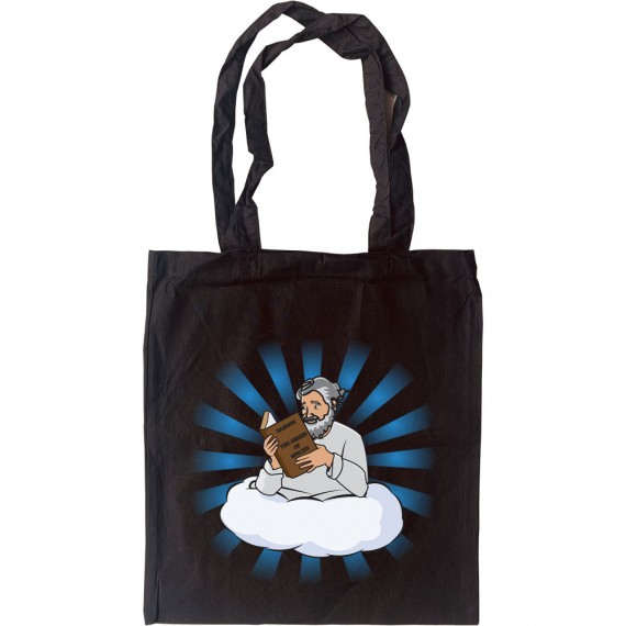 """God Reading """"On The Origin Of Species"""" Tote Bag"""