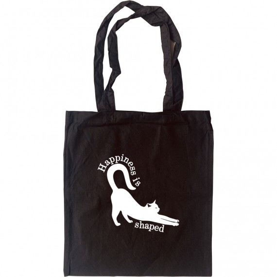 Happiness is Cat Shaped Tote Bag