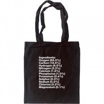 Human Body Ingredients Tote Bag