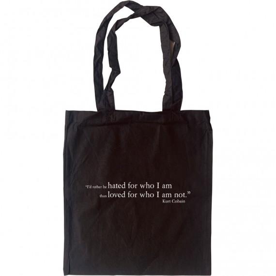 "Kurt Cobain ""Hated"" Quote Tote Bag"