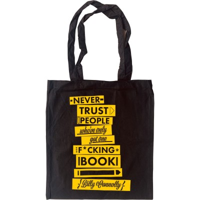 """Billy Connolly """"One Book"""" Quote Tote Bag"""
