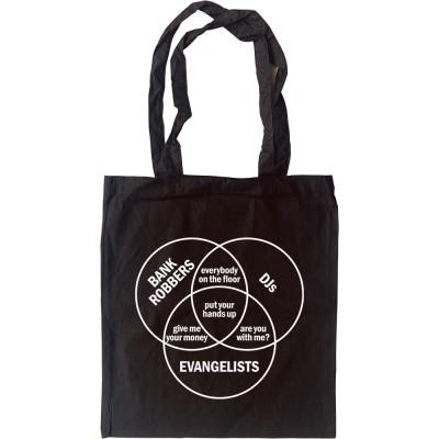 Bank Robbers, DJs, Evangelists Venn Diagram Tote Bag