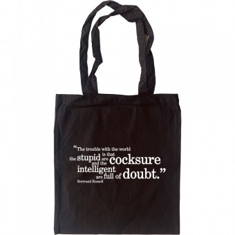 """Bertrand Russell """"Trouble With The World"""" Quote Tote Bag"""