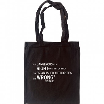 """Voltaire """"Right and Wrong"""" Quote Tote Bag"""